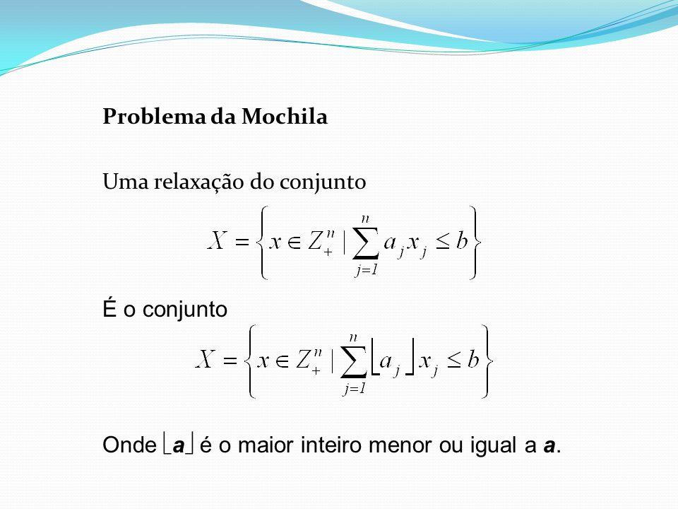 Problema da Mochila Uma relaxação do conjunto É o conjunto Onde a é o maior inteiro menor ou igual a a.