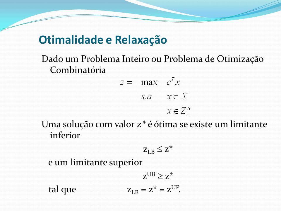 Otimalidade e Relaxação Dado um Problema Inteiro ou Problema de Otimização Combinatória Uma solução com valor z* é ótima se existe um limitante inferior z LB z* e um limitante superior z UB z* tal que z LB = z* = z UP.