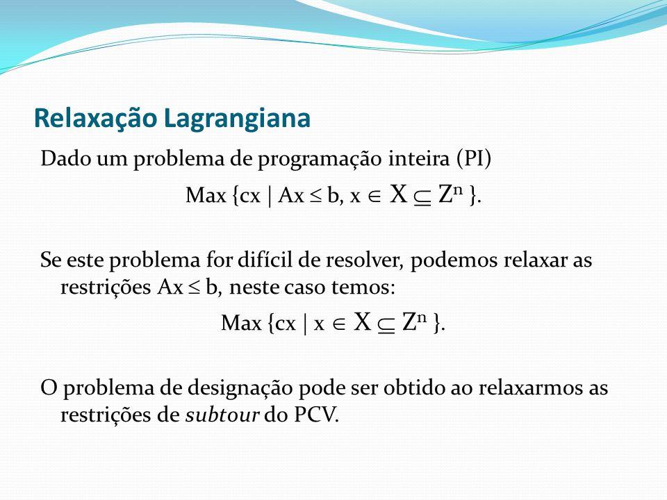 Relaxação Lagrangiana Dado um problema de programação inteira (PI) Max {cx | Ax b, x X Z n }.