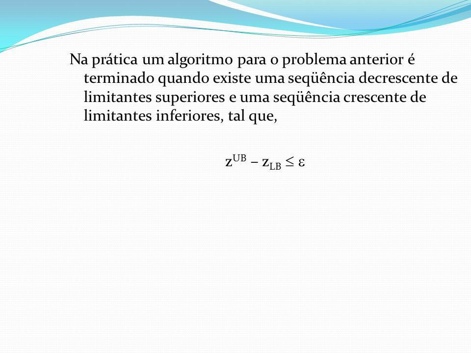 Na prática um algoritmo para o problema anterior é terminado quando existe uma seqüência decrescente de limitantes superiores e uma seqüência crescente de limitantes inferiores, tal que, z UB – z LB