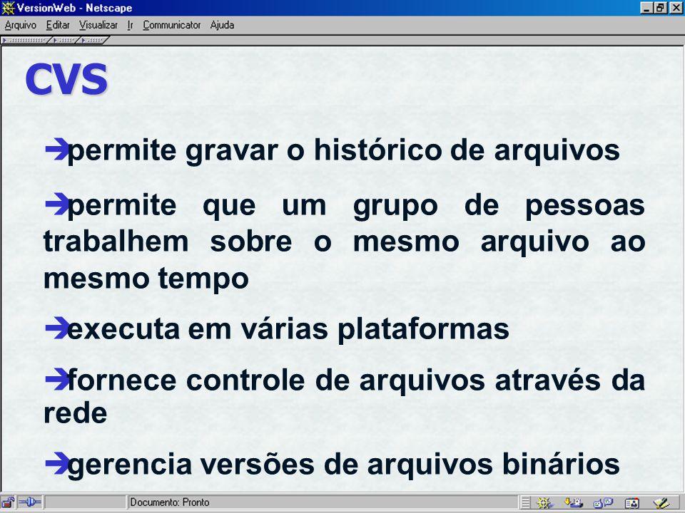 CVS è permite gravar o histórico de arquivos è permite que um grupo de pessoas trabalhem sobre o mesmo arquivo ao mesmo tempo è executa em várias plataformas è fornece controle de arquivos através da rede è gerencia versões de arquivos binários