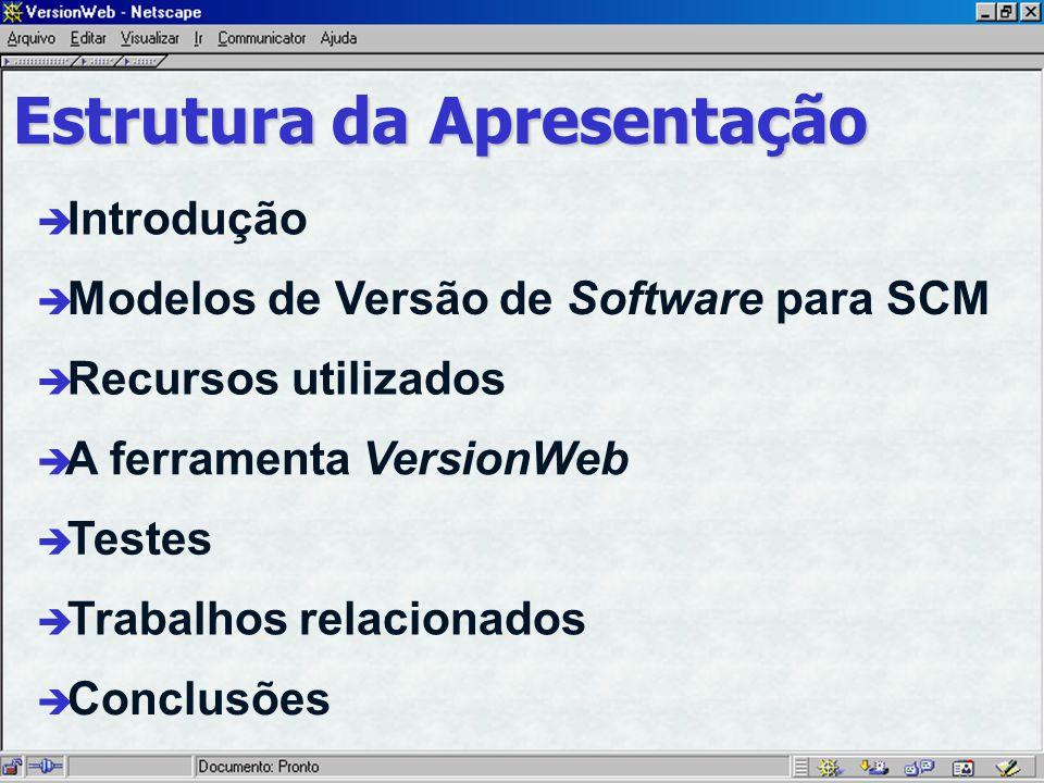 è Introdução è A ferramenta VersionWeb è Modelos de Versão de Software para SCM è Recursos utilizados è Conclusões Estrutura da Apresentação è Testes è Trabalhos relacionados