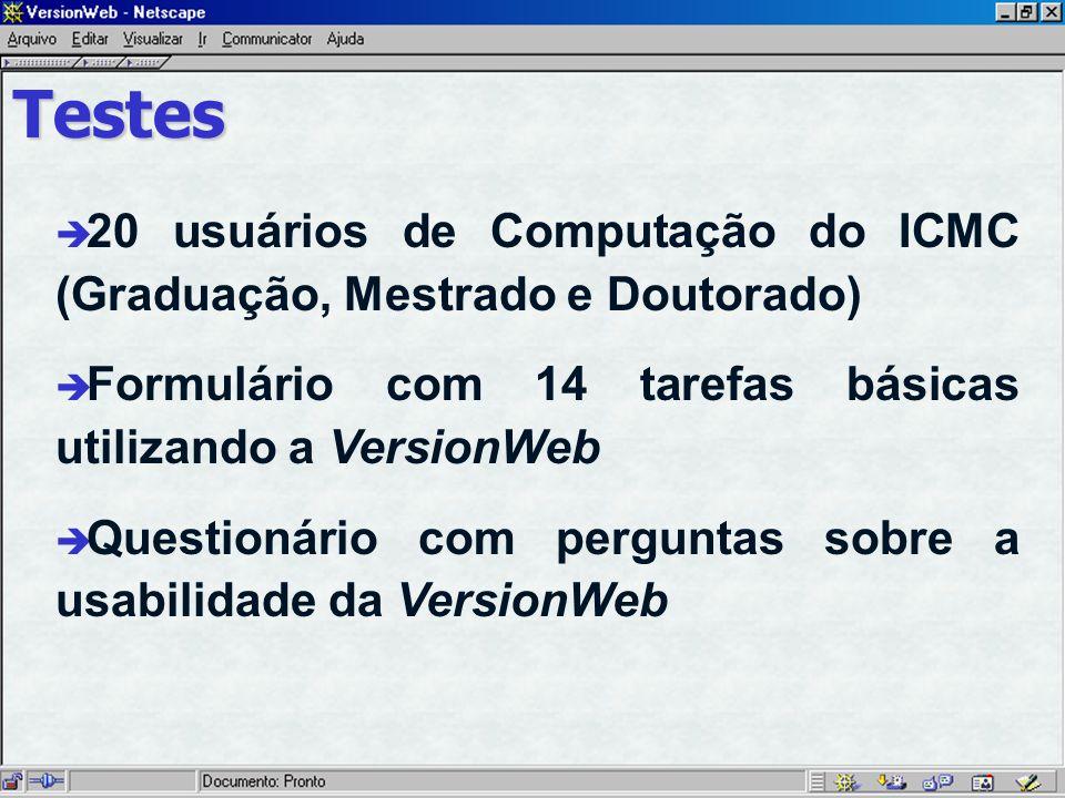 Testes è 20 usuários de Computação do ICMC (Graduação, Mestrado e Doutorado) è Formulário com 14 tarefas básicas utilizando a VersionWeb è Questionário com perguntas sobre a usabilidade da VersionWeb