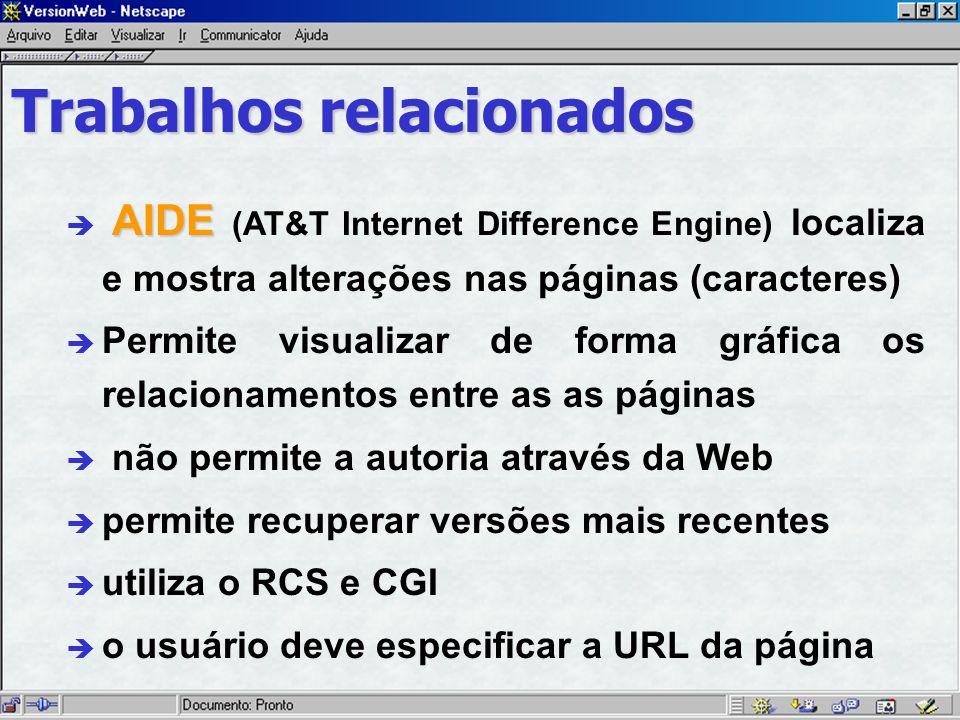 AIDE è AIDE (AT&T Internet Difference Engine) localiza e mostra alterações nas páginas (caracteres) è Permite visualizar de forma gráfica os relacionamentos entre as as páginas è não permite a autoria através da Web è permite recuperar versões mais recentes è utiliza o RCS e CGI è o usuário deve especificar a URL da página Trabalhos relacionados
