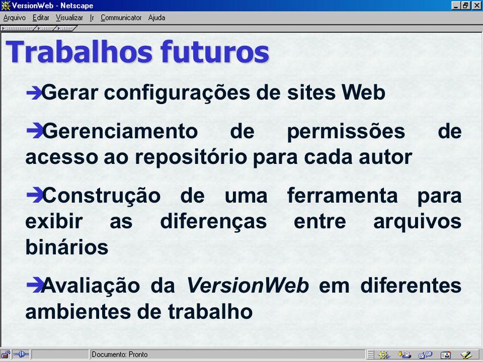 Trabalhos futuros Gerar configurações de sites Web è Gerenciamento de permissões de acesso ao repositório para cada autor è Construção de uma ferramenta para exibir as diferenças entre arquivos binários è Avaliação da VersionWeb em diferentes ambientes de trabalho