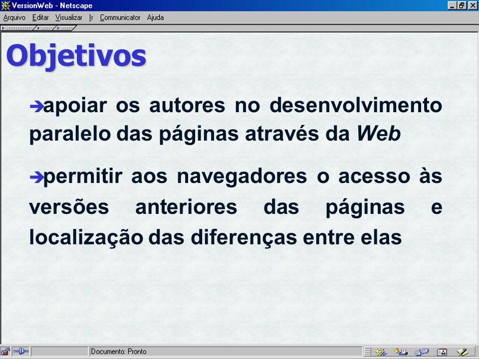 Objetivos è apoiar os autores no desenvolvimento paralelo das páginas através da Web è permitir aos navegadores o acesso às versões anteriores das páginas e localização das diferenças entre elas
