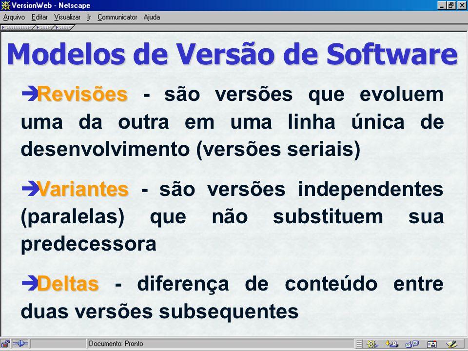 Modelos de Versão de Software Revisões è Revisões - são versões que evoluem uma da outra em uma linha única de desenvolvimento (versões seriais) Variantes è Variantes - são versões independentes (paralelas) que não substituem sua predecessora Deltas è Deltas - diferença de conteúdo entre duas versões subsequentes