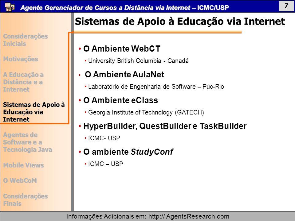 Agente Gerenciador de Cursos a Distância via Internet – ICMC/USP Informações Adicionais em: http:// AgentsResearch.com Considerações Iniciais Motivações A Educação a Distância e a Internet Sistemas de Apoio à Educação via Internet Agentes de Software e a Tecnologia Java Mobile Views O WebCoM Considerações Finais 37 Agente Gerenciador de Cursos a Distância via Internet – ICMC/USP Informações Adicionais em: http:// AgentsResearch.com Considerações Iniciais Motivações A Educação a Distância e a Internet Sistemas de Apoio à Educação via Internet Agentes de Software e a Tecnologia Java Mobile Views O WebCoM Considerações Finais 18 Painel retornado pela view Janela da ViewInterface Mobile Views