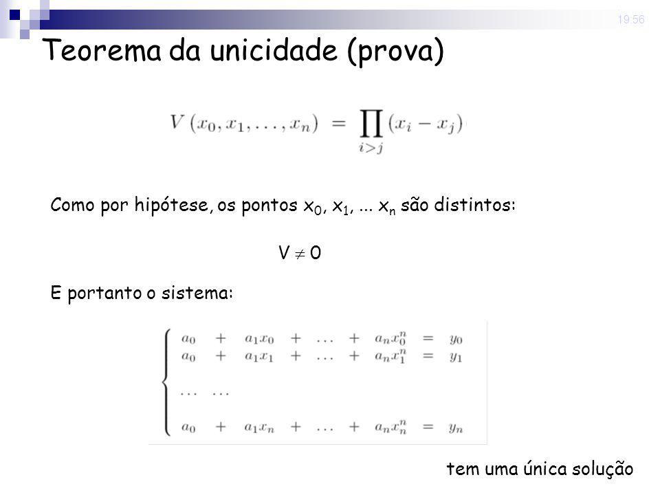 8 May 2008. 19:56 Teorema da unicidade (prova) Como por hipótese, os pontos x 0, x 1,... x n são distintos: E portanto o sistema: tem uma única soluçã