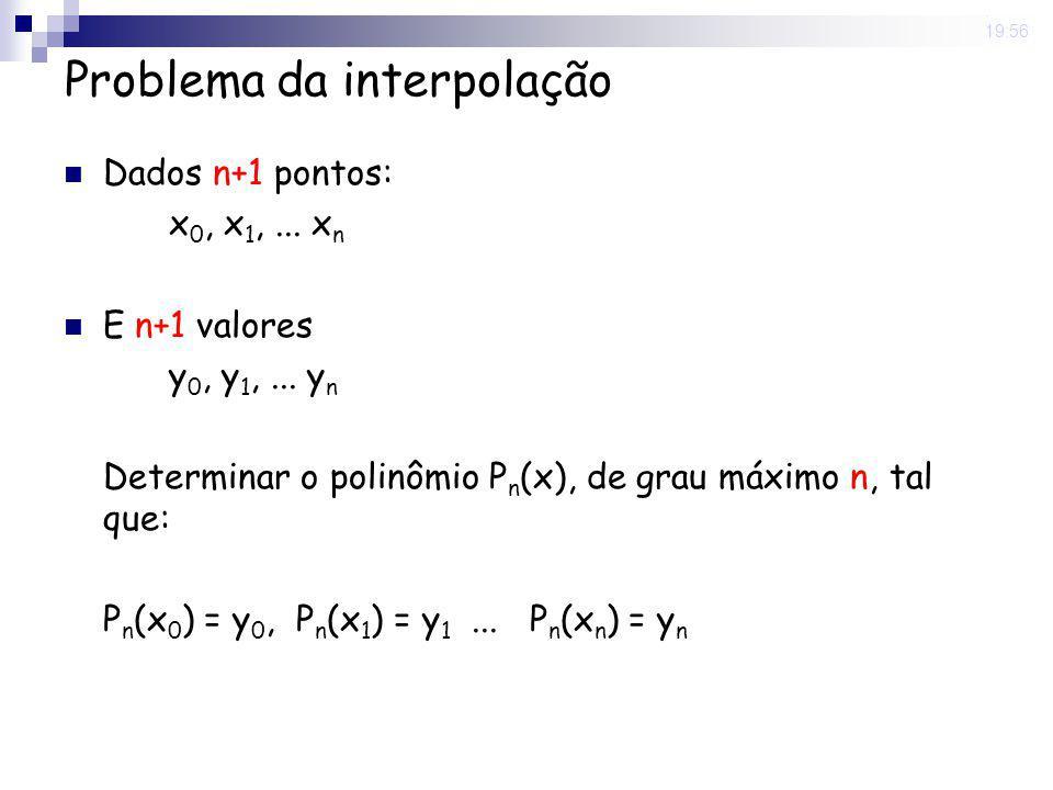 8 May 2008. 19:56 Problema da interpolação Dados n+1 pontos: x 0, x 1,... x n E n+1 valores y 0, y 1,... y n Determinar o polinômio P n (x), de grau m