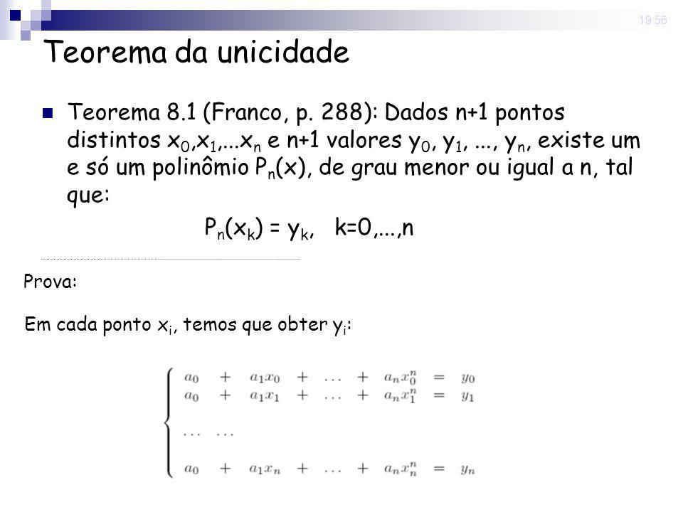 8 May 2008. 19:56 Teorema da unicidade Teorema 8.1 (Franco, p. 288): Dados n+1 pontos distintos x 0,x 1,...x n e n+1 valores y 0, y 1,..., y n, existe