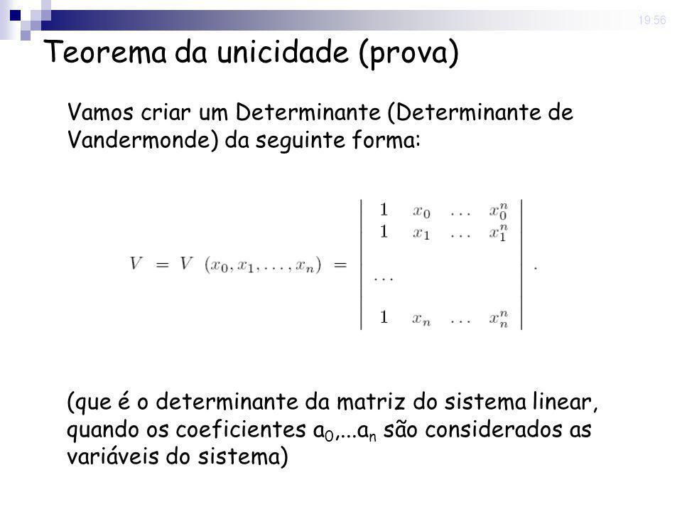 8 May 2008. 19:56 Teorema da unicidade (prova) Vamos criar um Determinante (Determinante de Vandermonde) da seguinte forma: (que é o determinante da m