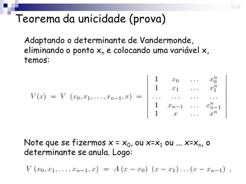8 May 2008. 19:56 Teorema da unicidade (prova) Adaptando o determinante de Vandermonde, eliminando o ponto x n e colocando uma variável x, temos: Note