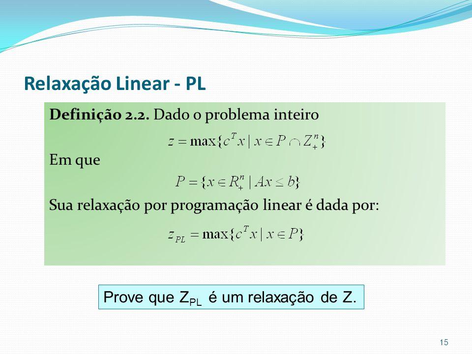 Relaxação Linear - PL Definição 2.2.