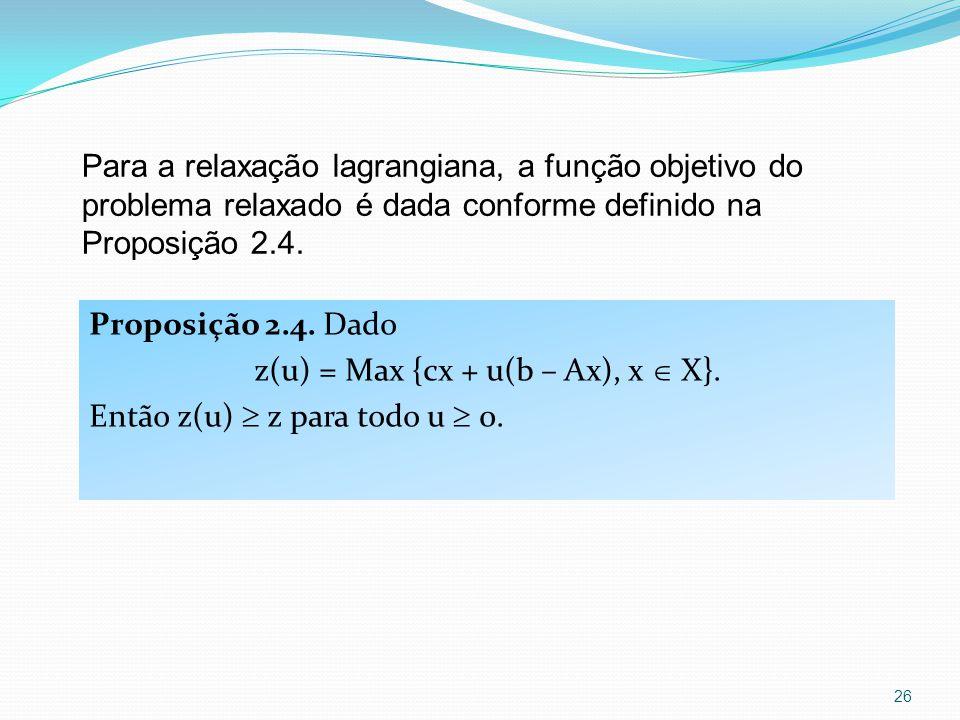 Proposição 2.4. Dado z(u) = Max {cx + u(b – Ax), x X}.