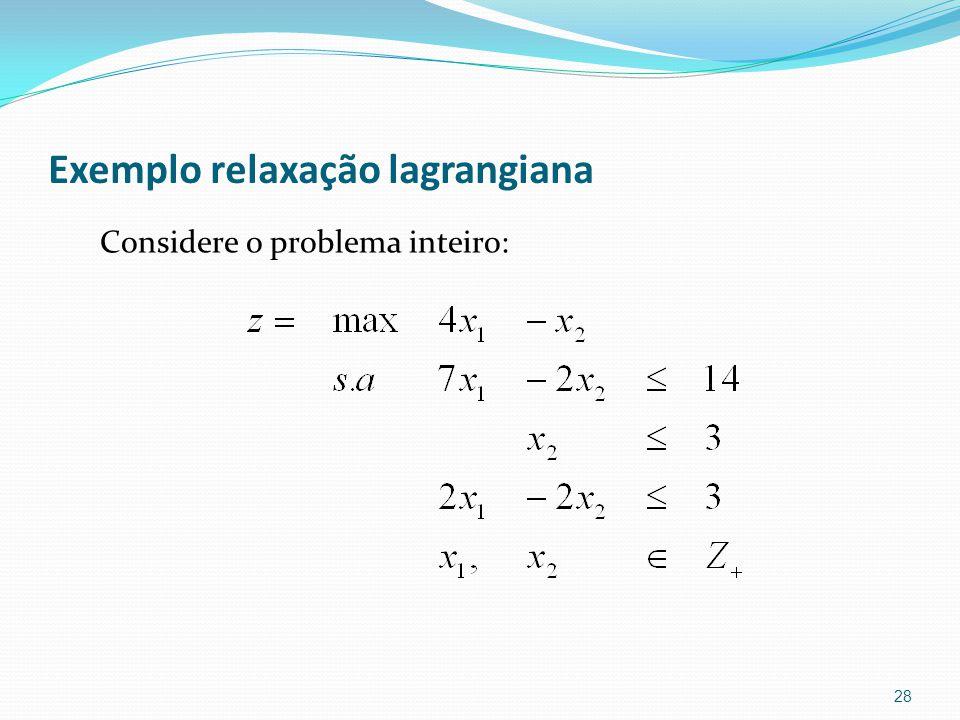 Exemplo relaxação lagrangiana Considere o problema inteiro: 28