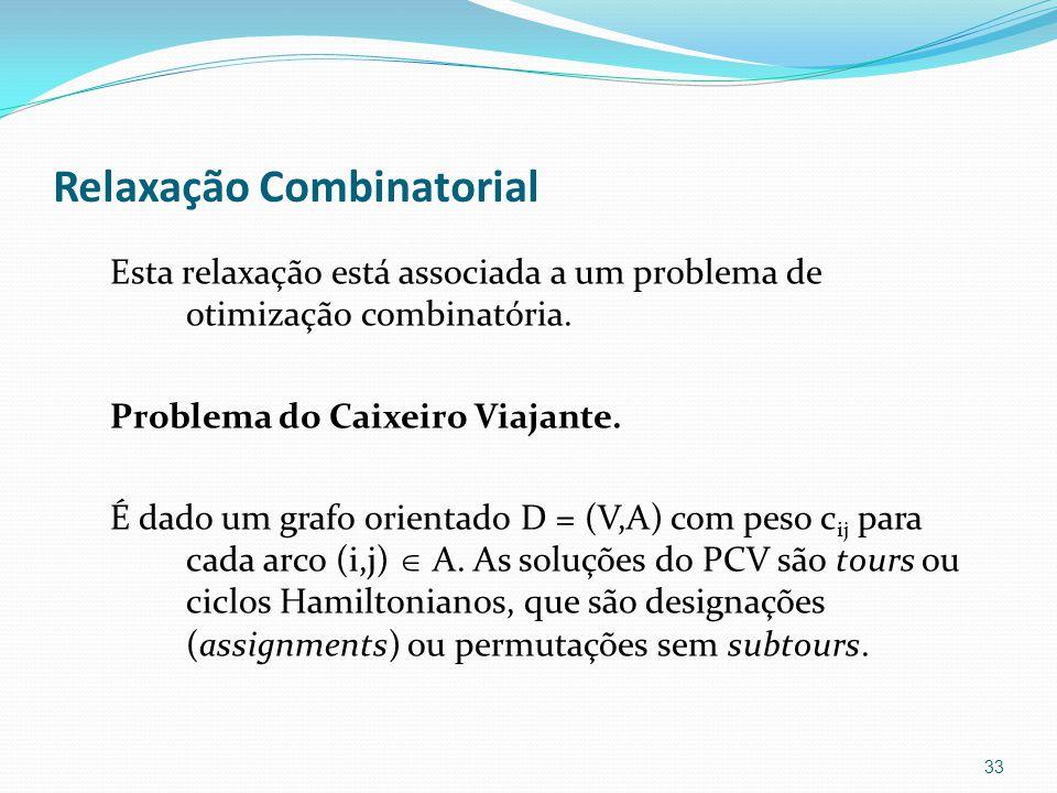 Relaxação Combinatorial Esta relaxação está associada a um problema de otimização combinatória.