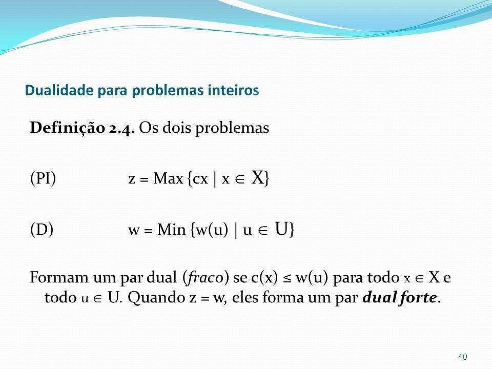 Dualidade para problemas inteiros Definição 2.4.
