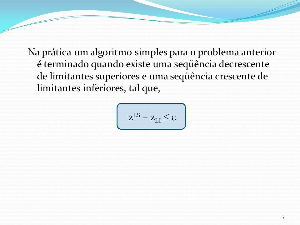 Limitante Inferior Qualquer solução x´ X (solução factível) fornece um limitante inferior para o problema 1 : z LI = z(x´) z* Em geral, usam-se métodos heurísticos para obter um limitante inferior.