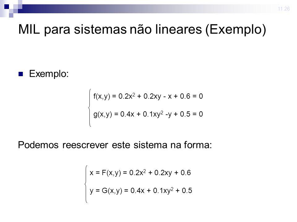 23 mar 2009. 11:26 MIL para sistemas não lineares (Exemplo) Exemplo: Podemos reescrever este sistema na forma: f(x,y) = 0.2x 2 + 0.2xy - x + 0.6 = 0 g