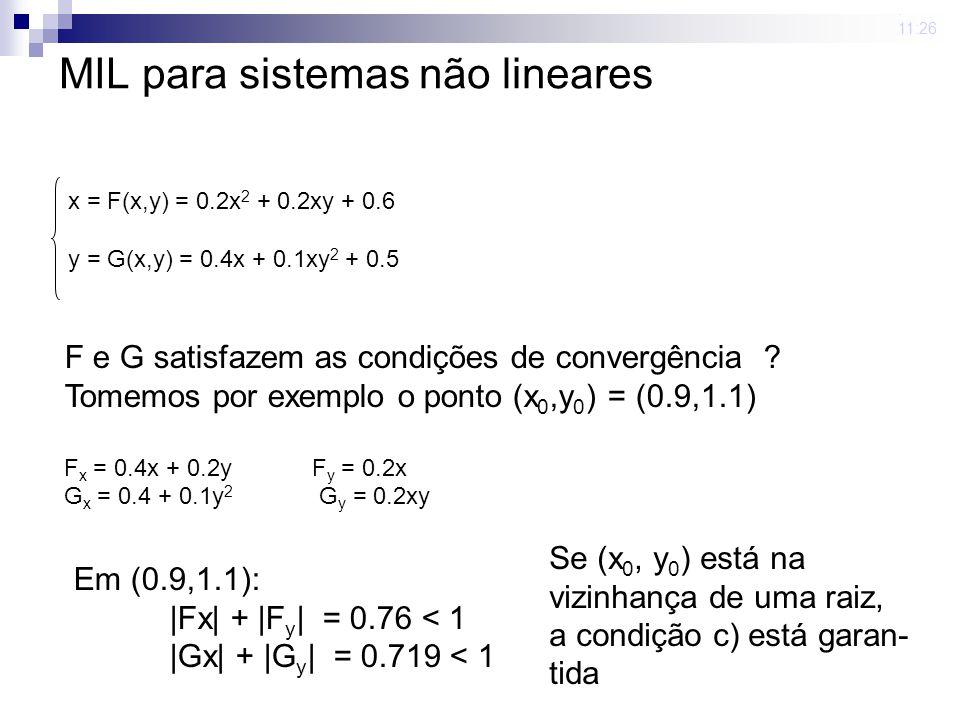23 mar 2009. 11:26 MIL para sistemas não lineares x = F(x,y) = 0.2x 2 + 0.2xy + 0.6 y = G(x,y) = 0.4x + 0.1xy 2 + 0.5 F e G satisfazem as condições de