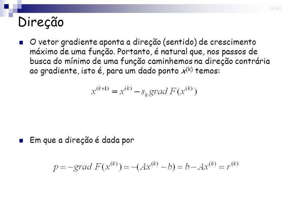 14 Nov 2008. 14:40 Direção O vetor gradiente aponta a direção (sentido) de crescimento máximo de uma função. Portanto, é natural que, nos passos de bu