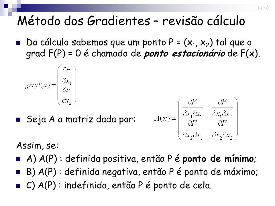14 Nov 2008. 14:40 Método dos Gradientes – revisão cálculo Do cálculo sabemos que um ponto P = (x 1, x 2 ) tal que o grad F(P) = 0 é chamado de ponto