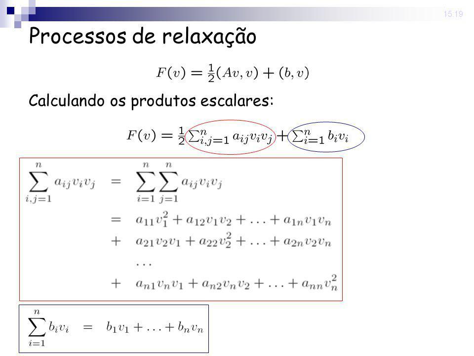 20 May 2008. 15:19 Processos de relaxação Calculando os produtos escalares: