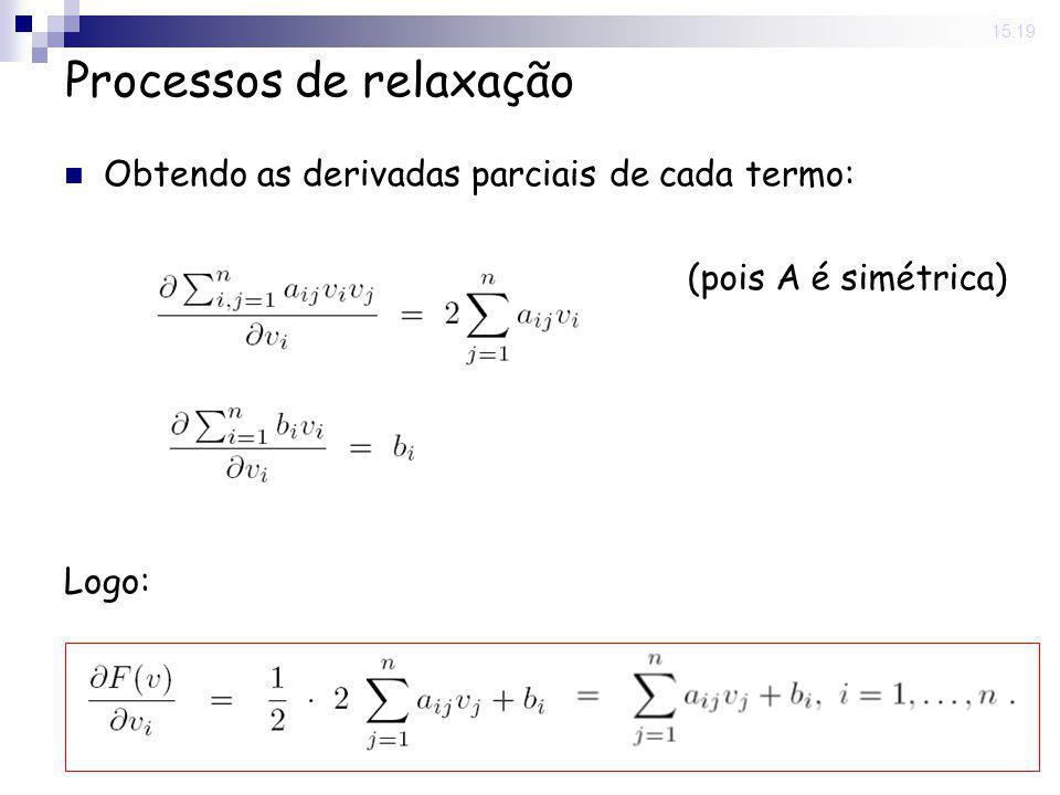 20 May 2008. 15:19 Processos de relaxação Obtendo as derivadas parciais de cada termo: Logo: (pois A é simétrica)