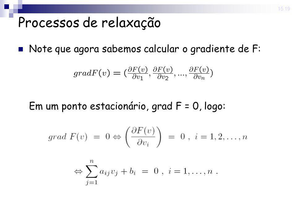20 May 2008. 15:19 Processos de relaxação Note que agora sabemos calcular o gradiente de F: Em um ponto estacionário, grad F = 0, logo: