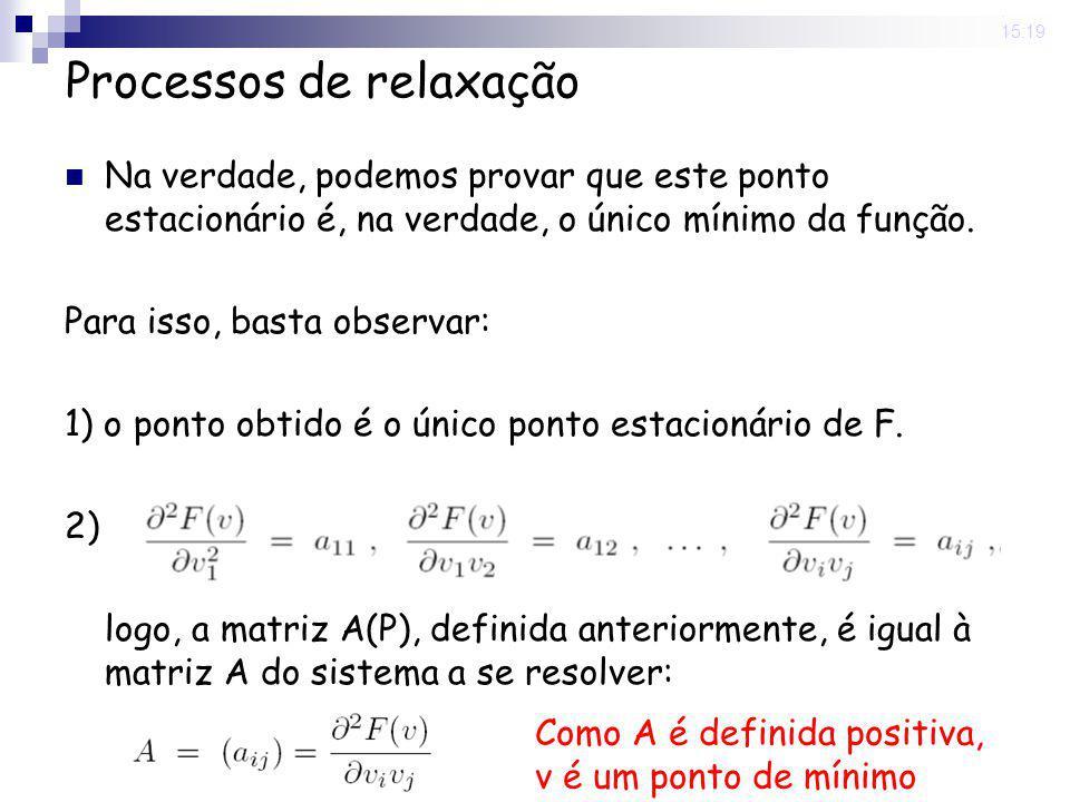 20 May 2008. 15:19 Processos de relaxação Na verdade, podemos provar que este ponto estacionário é, na verdade, o único mínimo da função. Para isso, b