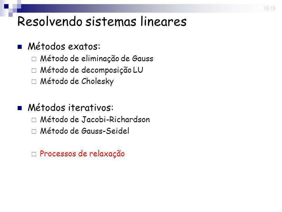 20 May 2008. 15:19 Resolvendo sistemas lineares Métodos exatos: Método de eliminação de Gauss Método de decomposição LU Método de Cholesky Métodos ite