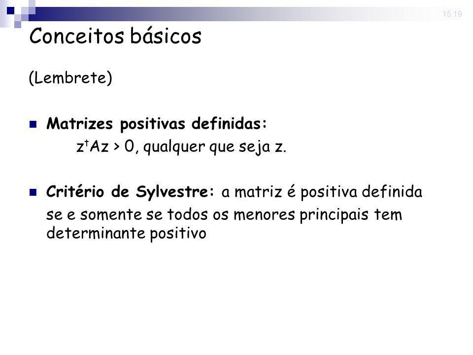 20 May 2008. 15:19 Conceitos básicos (Lembrete) Matrizes positivas definidas: z t Az > 0, qualquer que seja z. Critério de Sylvestre: a matriz é posit