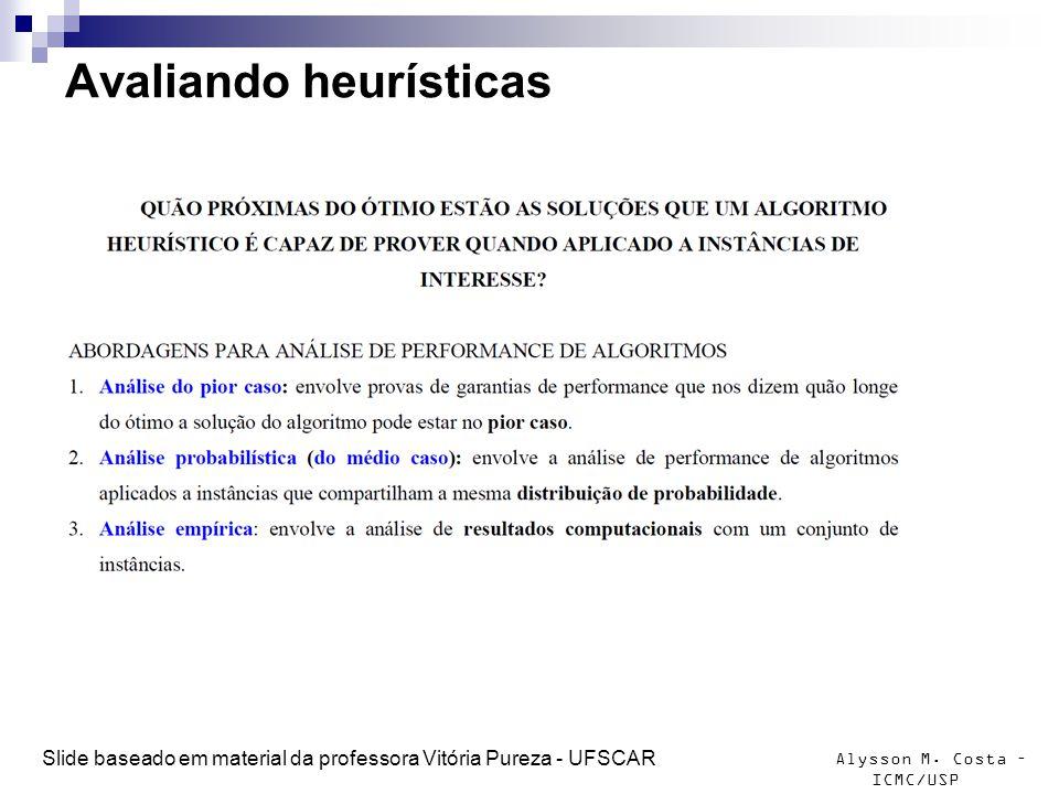 Alysson M. Costa – ICMC/USP Avaliando heurísticas Slide baseado em material da professora Vitória Pureza - UFSCAR