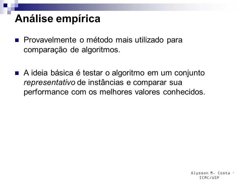 Alysson M. Costa – ICMC/USP Análise empírica Provavelmente o método mais utilizado para comparação de algoritmos. A ideia básica é testar o algoritmo
