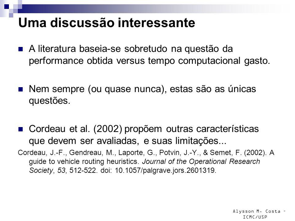 Alysson M. Costa – ICMC/USP Uma discussão interessante A literatura baseia-se sobretudo na questão da performance obtida versus tempo computacional ga