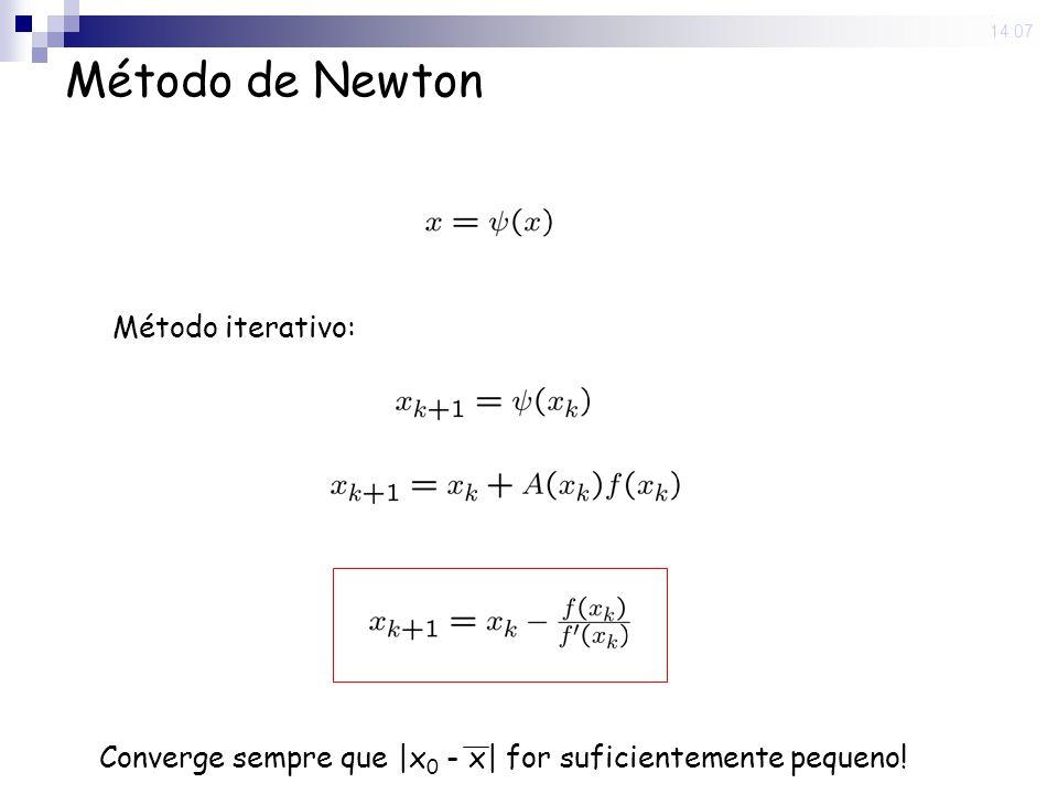 29 Aug 2008. 14:07 Método de Newton Método iterativo: Converge sempre que |x 0 - x| for suficientemente pequeno!