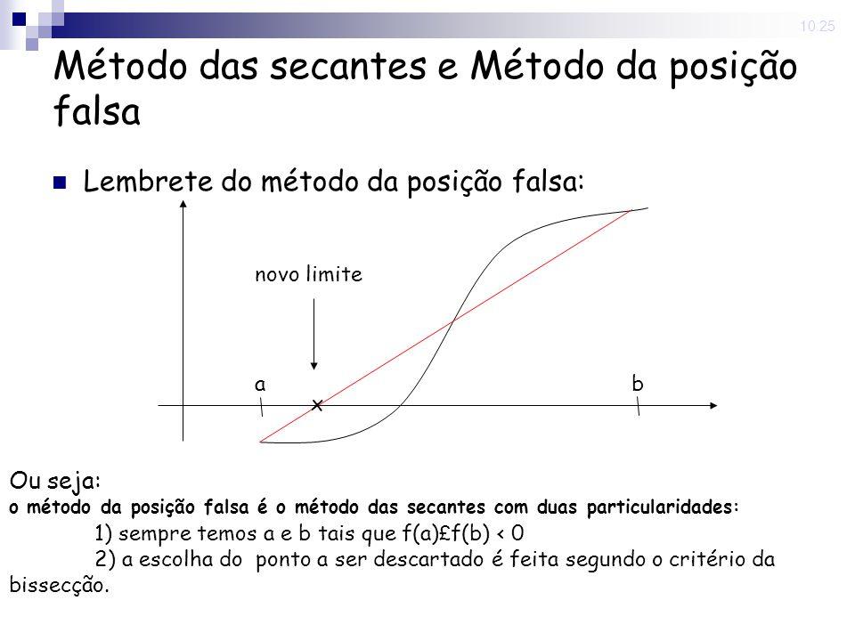 10:25 Método das secantes e Método da posição falsa Lembrete do método da posição falsa: a b x novo limite Ou seja: o método da posição falsa é o méto