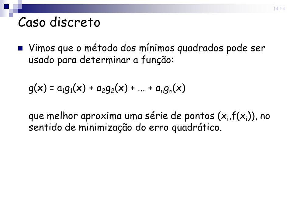 13 Jun 2008. 14:54 Caso discreto Vimos que o método dos mínimos quadrados pode ser usado para determinar a função: g(x) = a 1 g 1 (x) + a 2 g 2 (x) +.