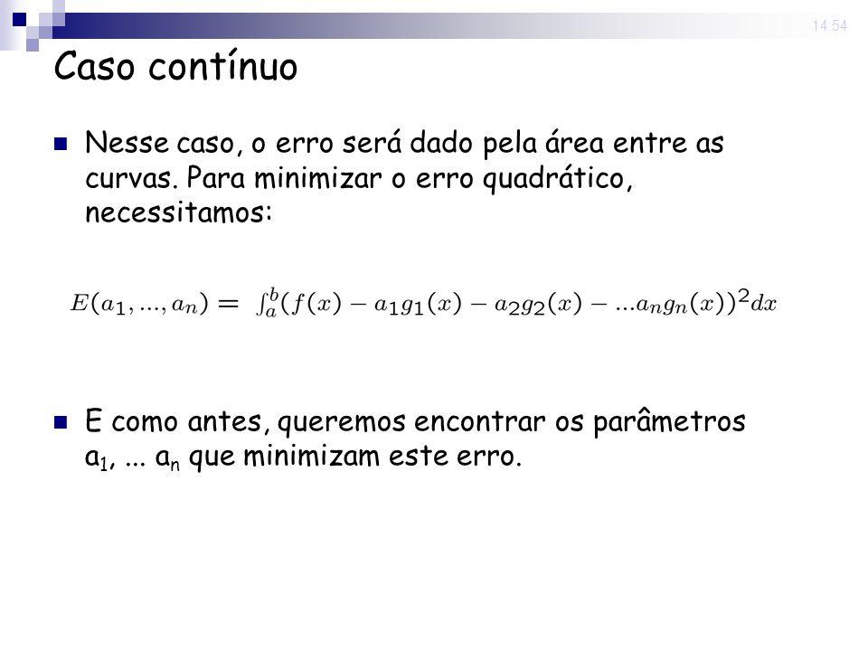13 Jun 2008. 14:54 Caso contínuo Nesse caso, o erro será dado pela área entre as curvas. Para minimizar o erro quadrático, necessitamos: E como antes,