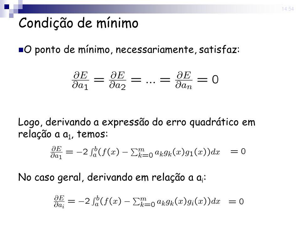 13 Jun 2008. 14:54 Condição de mínimo O ponto de mínimo, necessariamente, satisfaz: Logo, derivando a expressão do erro quadrático em relação a a 1, t