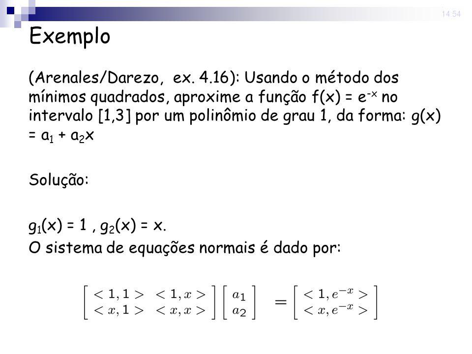 13 Jun 2008. 14:54 Exemplo (Arenales/Darezo, ex. 4.16): Usando o método dos mínimos quadrados, aproxime a função f(x) = e -x no intervalo [1,3] por um