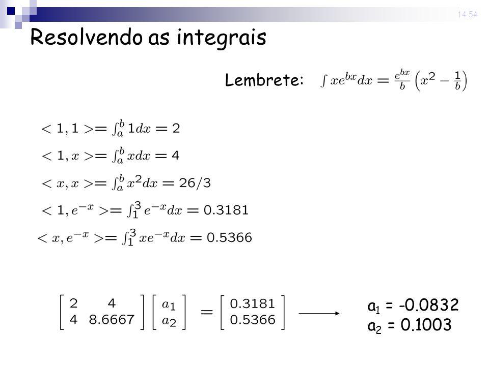 13 Jun 2008. 14:54 Resolvendo as integrais Lembrete: a 1 = -0.0832 a 2 = 0.1003