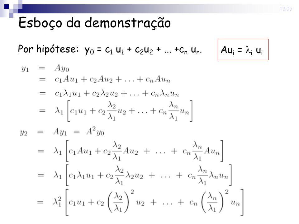 9 Jun 2008. 13:05 Por hipótese: y 0 = c 1 u 1 + c 2 u 2 +... +c n u n. Au i = i u i Esboço da demonstração