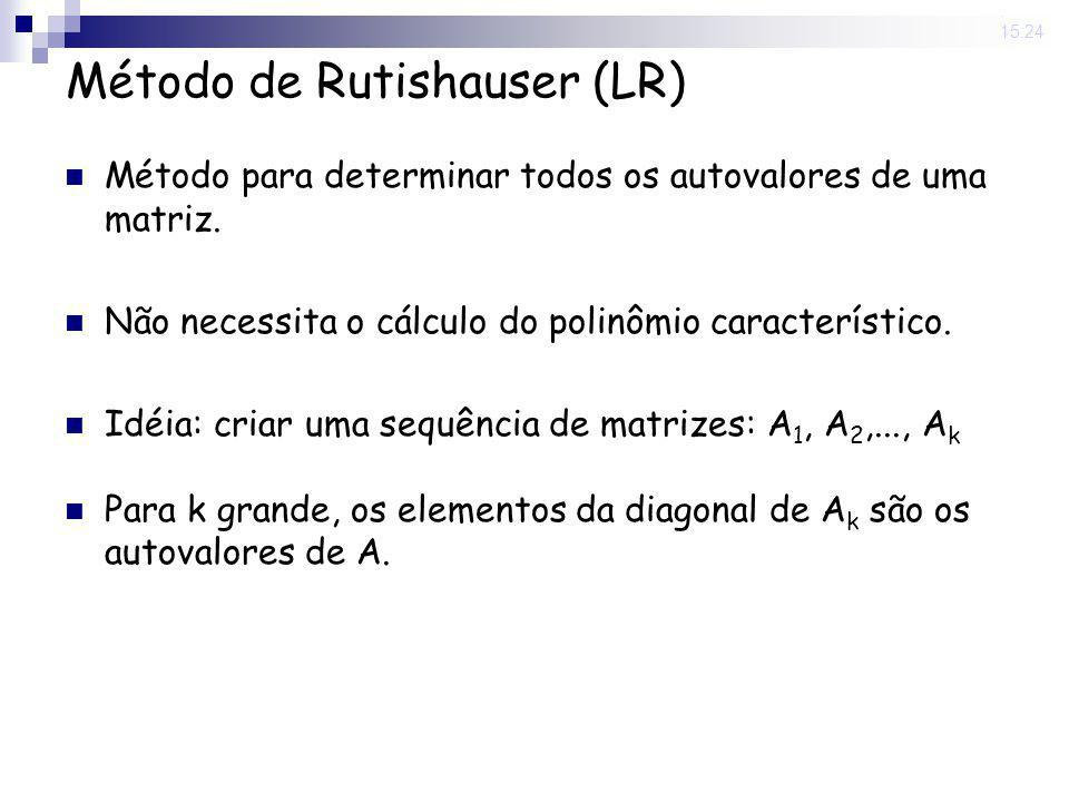 25 Nov 2008. 15:24 Método de Rutishauser (LR) Método para determinar todos os autovalores de uma matriz. Não necessita o cálculo do polinômio caracter