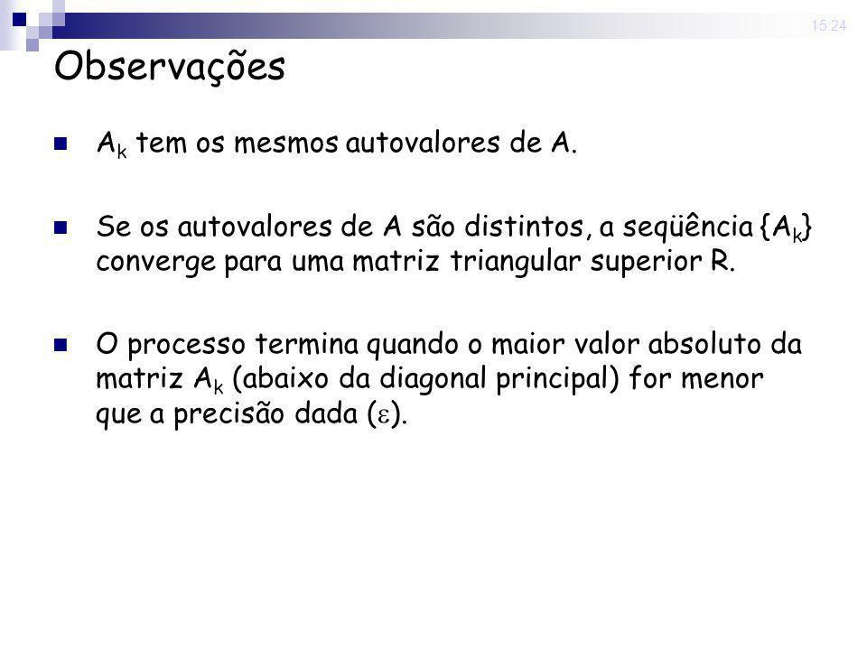 25 Nov 2008. 15:24 Observações A k tem os mesmos autovalores de A. Se os autovalores de A são distintos, a seqüência {A k } converge para uma matriz t