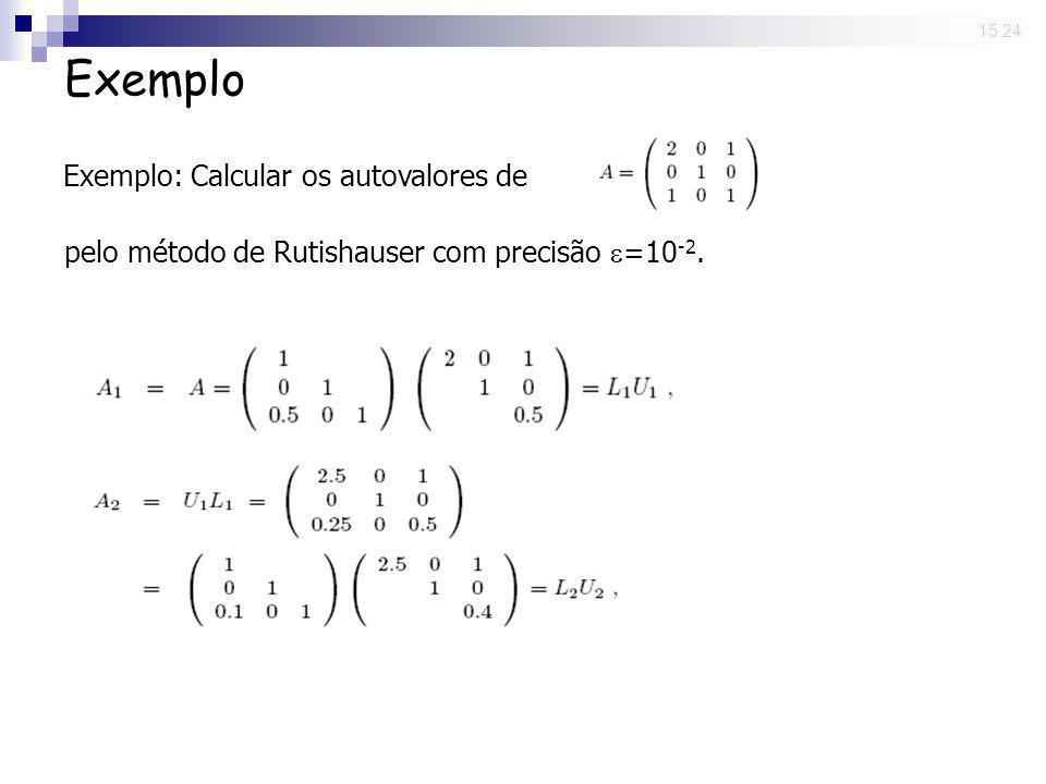 25 Nov 2008. 15:24 Exemplo pelo método de Rutishauser com precisão =10 -2. Exemplo: Calcular os autovalores de