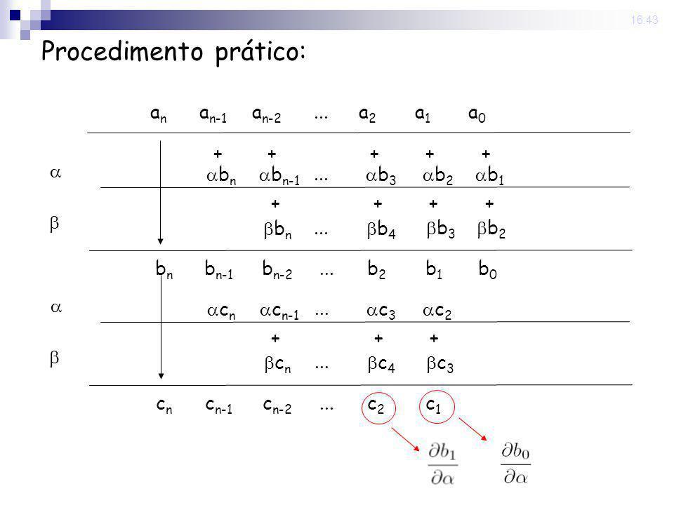 22 Sep 2008. 16:43 Procedimento prático: anan a n-1 a n-2...a2a2 a1a1 a0a0 b n b n-1... b 3 b 2 b 1 b n... b 4 +++++ b 3 b 2 ++++ bnbn b n-1 b n-2...b