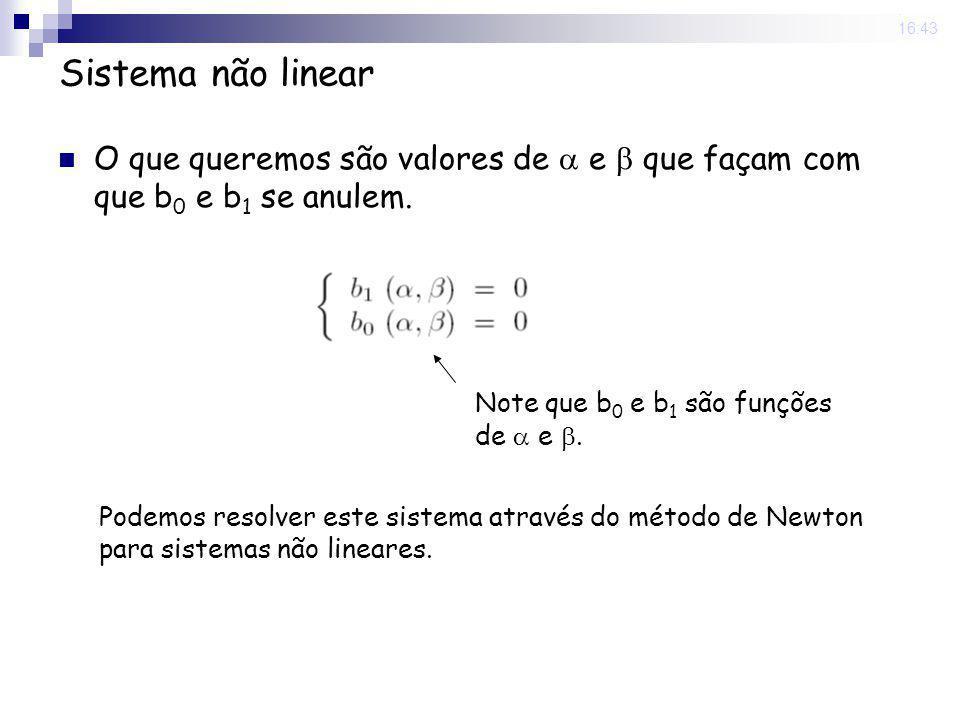 22 Sep 2008. 16:43 Sistema não linear O que queremos são valores de e que façam com que b 0 e b 1 se anulem. Note que b 0 e b 1 são funções de e. Pode