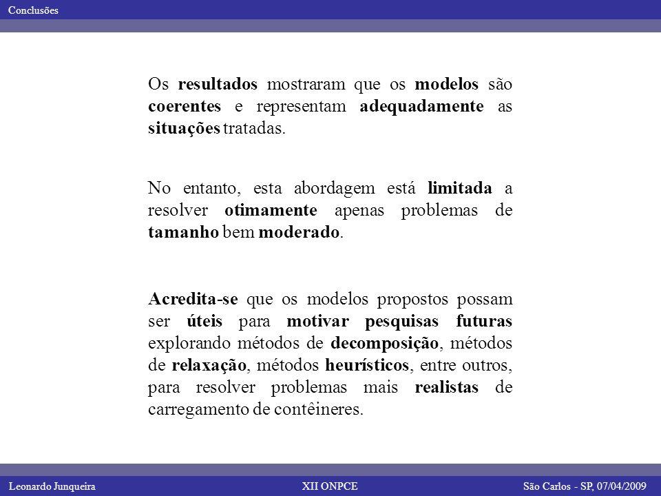 Leonardo JunqueiraSão Carlos - SP, 07/04/2009 Conclusões XII ONPCE Os resultados mostraram que os modelos são coerentes e representam adequadamente as situações tratadas.
